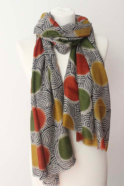 African Ball Green Orange Scarf - Shirdak