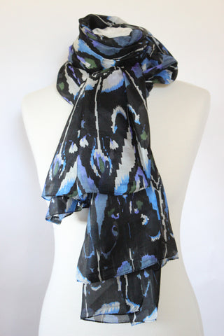 Silk Ikat Black Scarf - Shirdak