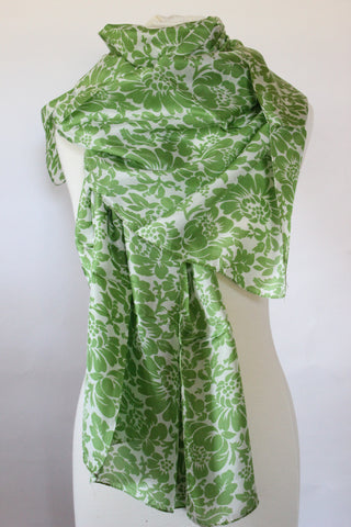 Silk Chrysant Green Scarf - Shirdak