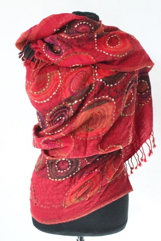 Cashmere Red Circles Scarf - Shirdak