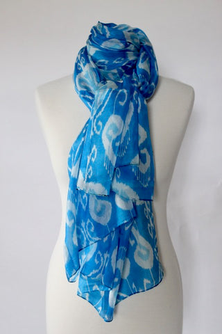 Silk Ikat Patterned Scarf - Shirdak