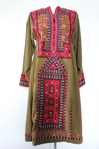 Balochi dress Olive-green - Shirdak
