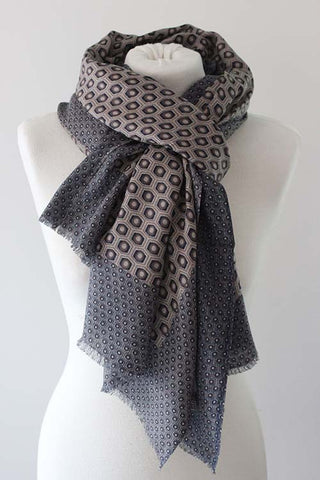 Hexagon TD Brown/Navy Scarf - Shirdak