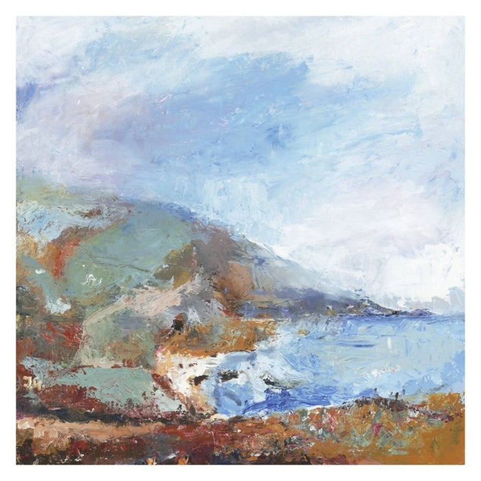 Coastal Art Print of the Cornwall Coast. Fine art Print made from original painting of a Cornish Coastal Path. Framed prints from original art. Available at Judi Glover Art. Original Painting by Judi Glover. Used for Wall Art.