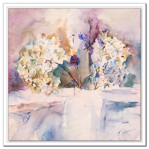 blue hydrangea Canvas Print made from an original watercolour painting of a blue hydrangea. Available as a framed canvas print or stretched canvas print for wall art. Original art by Judi Glover and available at Judi glover art.