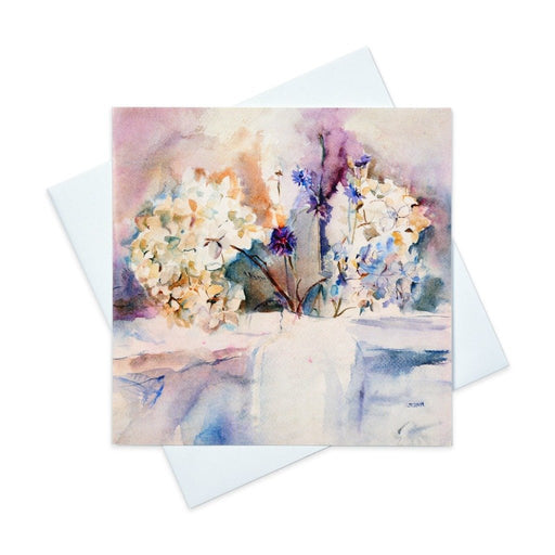 Hydrangea greeting card with blue hydrangeas made from original art in the UK and available from Judi Glover Art