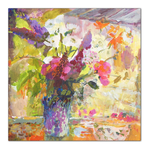 buddleia Canvas Print. Painting of Buddleia, Sweat Peas and Daisies by Judi Glover. Available as a Stretched Canvas Print for wall art at Judy Glover Art.