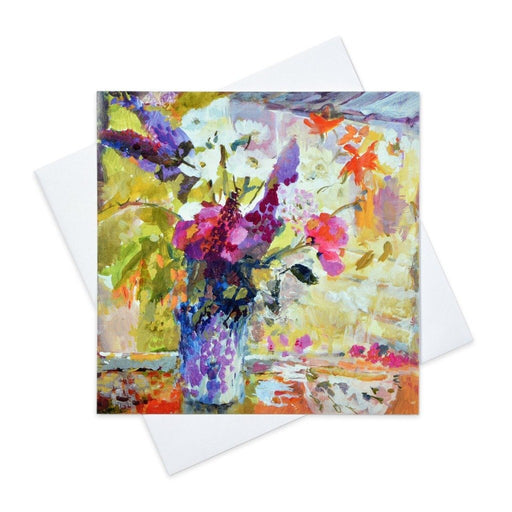 Floral greeting card of sweet peas made from original art in the UK and available from Judi Glover Art