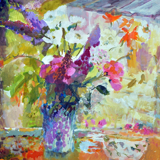 Fine Art Card made from original painting of flowers in a vase by Judi Glover. Bright flowers, Buddleia, sweet peas and daisies