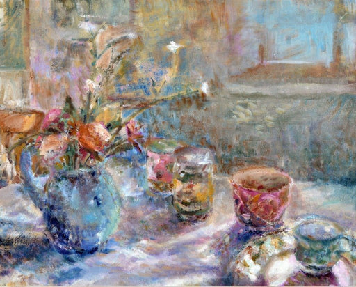 Fine art original still life painting which was made using oil on linen. The painting is of a blue jug with flowers inside and cups on a table by Judi Glover