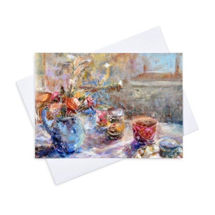 "fine art greeting card made from a painting by Judi Glover Art. The still life card shows an early morning setting at a breakfast table. Each artistic greeting card measures 7"" x 5"" and is blank with envelopes"
