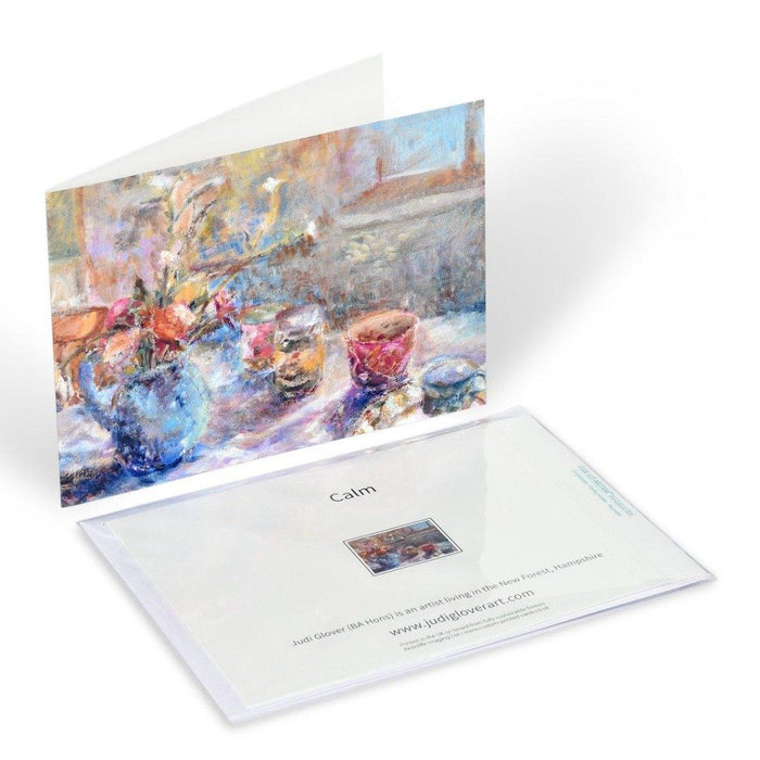 Fine art greeting card by Judi Glover Art of a still life. The artistic greeting card shows flowers inside and cups on a table