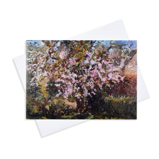 Artistic greeting card of a cherry tree by Judi Glover Art. The cherry blossom card is blank inside with envelopes and is 7 x 5 inches in size and printed on 300 gsm card