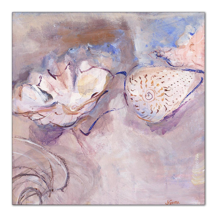Sea Shells canvas Print. Canvas Print made from original painting. Stretched Canvas Print from original art. Available at Judi Glover Art. Original Painting by Judi Glover. Used for Wall Art.