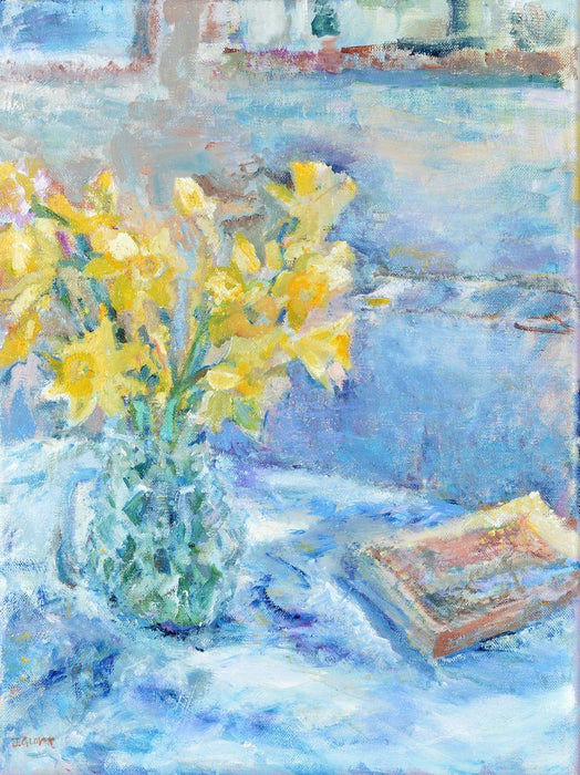 Fine Art Card made from original painting of daffodils in a vase. Made from original art at Judi Glover Art.