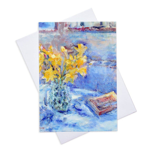 Floral greeting card of daffodils from original art in the UK and available from Judi Glover Art