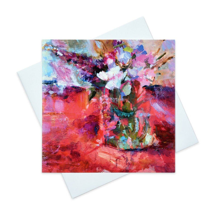 Abstract floral greeting card of red and pink flowers made from original art in the UK and available from Judi Glover Art