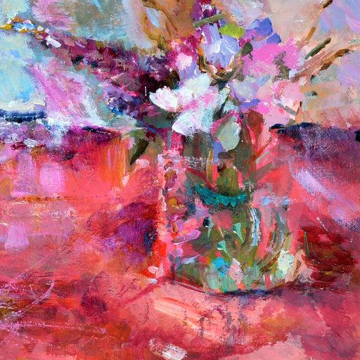 Floral Card made from original art. The abstract art card is from an original painting of red and pink flowers by judi glover art.