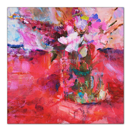 abstract floral Canvas Print. Painting of garden flowers in a vase. Impressionist painting by Judi Glover called glorious reds and pinks. Available as a Stretched Canvas Print for wall art at Judy Glover Art.