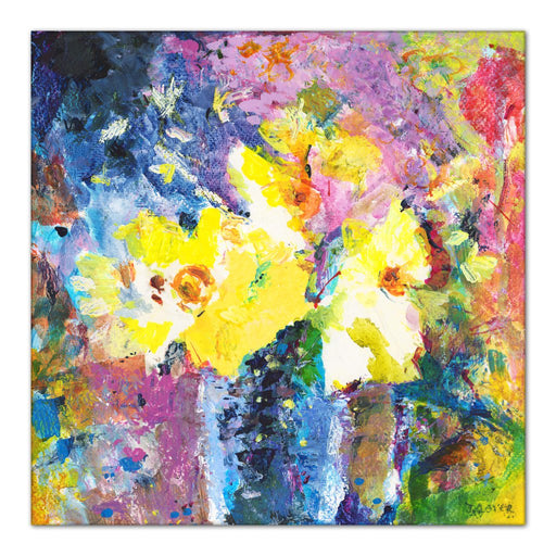 Canvas Print with flowers. Painting of bright yellow flowers made into a canvas print. Floral painting by Judi Glover called happy flowers which shows yellow Daffodils in bloom. Available as a Stretched Canvas Print and framed canvas print for wall art at Judy Glover Art.