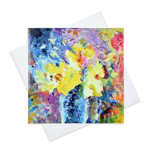 Floral Greeting Card with Daffodils called Happy Flowers made from original art in the UK by Judi Glover Art