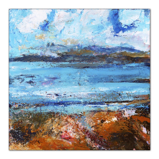 Iona Canvas Print. Isle of Iona Canvas Print made from original painting of the Isle of Iona, Scotland. Hebredes Painting. Stretched Canvas Print from original art Available at Judi Glover Art. Original Painting by Judi Glover Used for Wall Art.