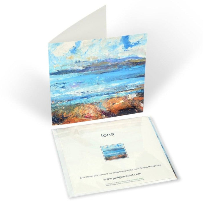 "Iona Cards from a painting of the Isle of Iona by Judi Glover Art. Each Iona Greeting card is 6"" x 6"" and is printed in the UK and provided with envelopes"