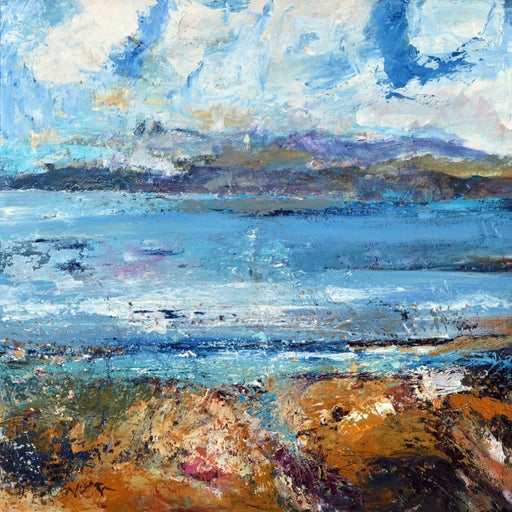 Fine art painting of the Isle of Iona which was made using acrylic on board. The Iona painting is available as a iona greeting card at Judi Glover Art. All of the art cards available are made in the UK from original fine art