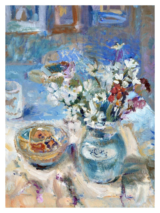 Fine art original still life painting of a Turkish bowl which was made using oil on linen. The bowl sits on a table next to a vase full of white, red and pink flowers