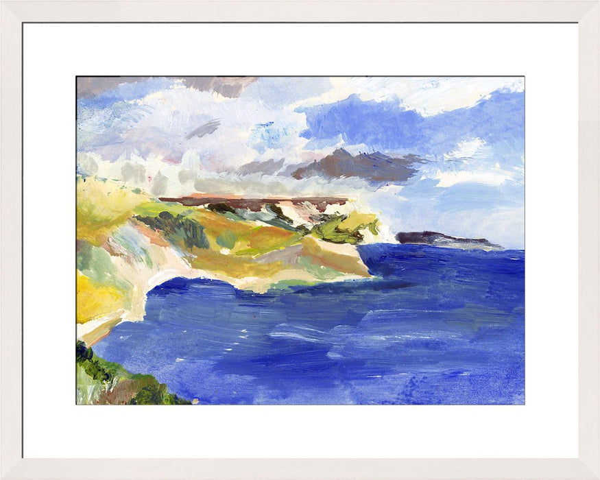 Coastal Fine Art Print. UK coast fine art print made from original art. This giclee art print of the Jurassic Coast in Dorset is available as a unframed fine art print. The fine art print is available as a framed art print. Fine Art prints from Original art by UK artist Judi Glover.