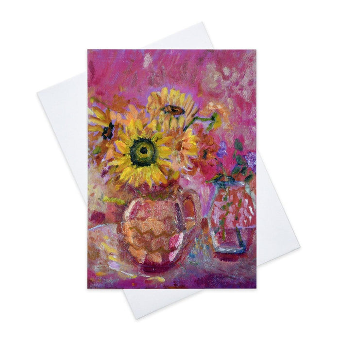 Artistic Greeting Card with sunflowers made from original art in the UK by Judi Glover Art. The Sunflower greeting card is blank inside each art card is provided with envelopes