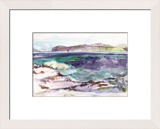 Art Print made from an Original Painting. A painting of Ben More in the Scottish Hebrides in Scotland with blues, greens and purples is printed into a giclee Print available at Judi Glover Art.