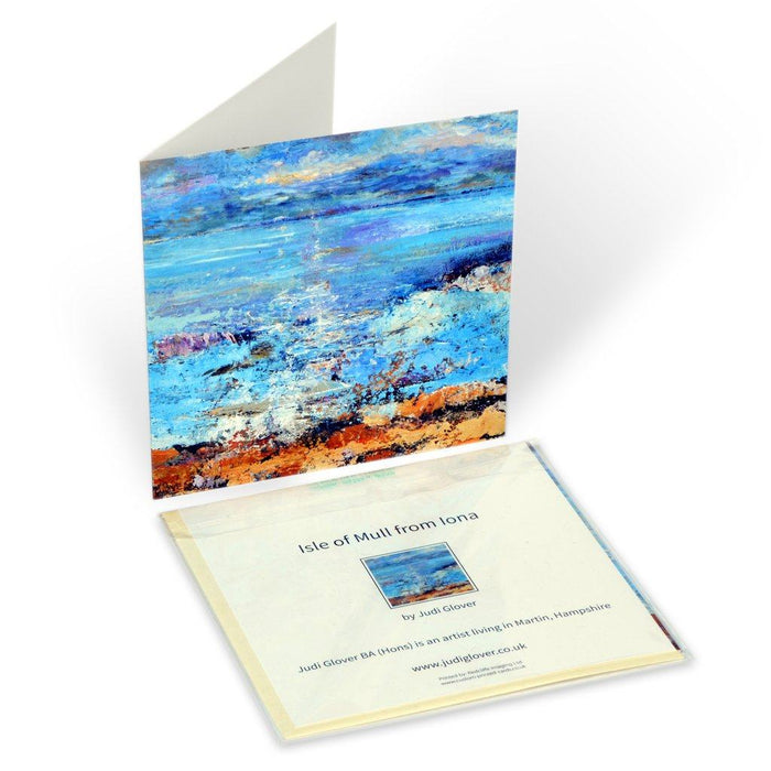 Fine art greeting card from the original painting of the Isle of Mull from Iona which is available online at Judi Glover Art