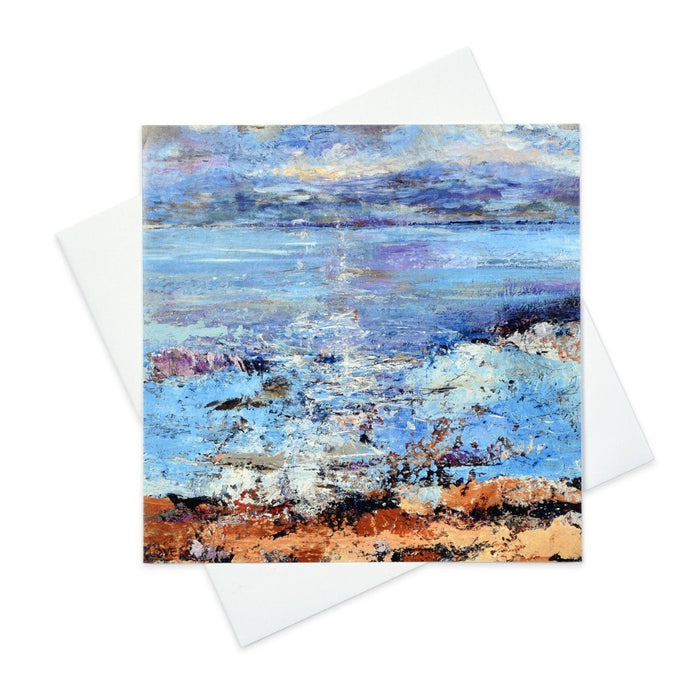 Art greeting Card with the Isle of Mull in the Isle of Iona made from original art in the UK by Judi Glover Art