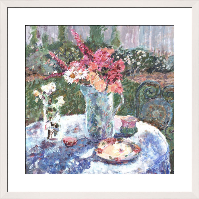 Roses Fine Art Print. Roses and daisies fine art print made from original art. This giclee art print is available as a fine art print. The fine art print is available as a framed art print. Fine Art prints from Original art by UK artist Judi Glover.