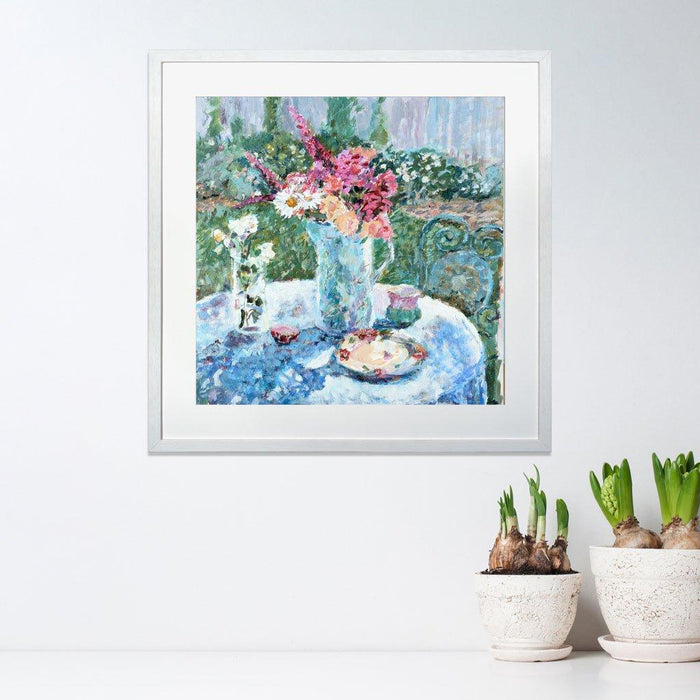 Flower Wall Art made from a fine art painting of Roses and Daisies by Judi Glover Art. Flower Prints show a vase of flowers on a table in an outside setting on warm day