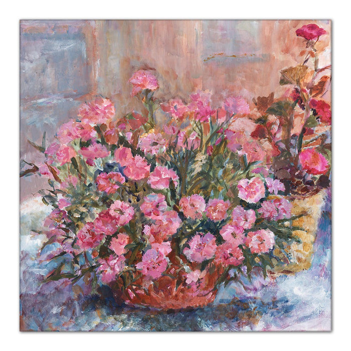 Pink Carnations Canvas Print. Canvas Print made from original painting. Stretched Canvas Print from original art. Available at Judi Glover Art. Original Painting by Judi Glover. Used for Wall Art.