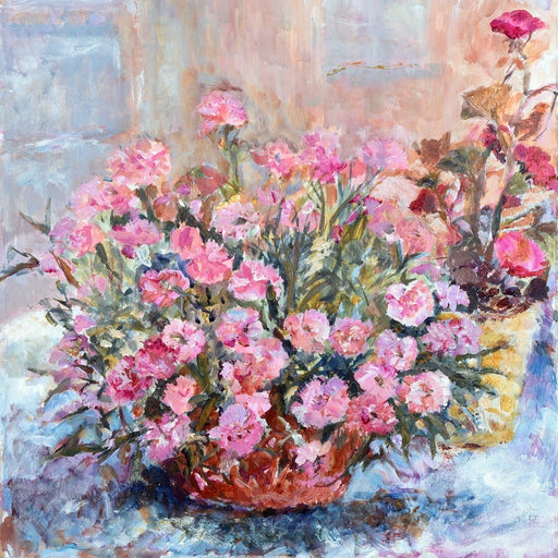 A painting of Pink Carnations that was used for the card by Judi Glover called Pink Carnations. The Carnation flowers sit in a bowl and are bright pink. An impressionistic fine art painting made into a fine art card. Available at Judi Glover Art. Made from an original painting by Judi Glover