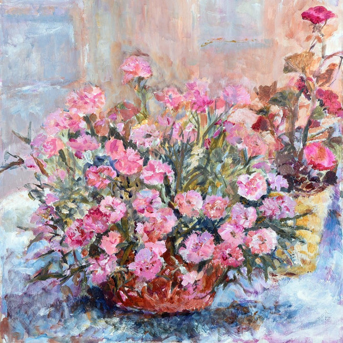 Floral greeting card by Judi Glover Art. The carnation card shows carnation flowers in a terracotta bowl and are bright pink. Each art greeting card is blank with envelopes