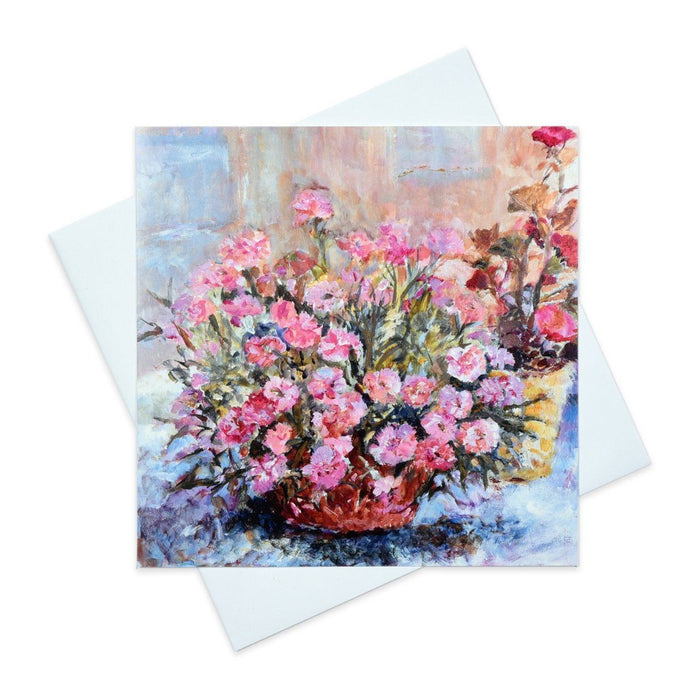 Art Greeting Card with Pink Carnations made from original art by Judi Glover Art in the UK. Each floral greeting card measures 6 x 6 inches and is blank inside