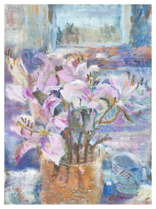 Art Print. Art print of Pink Lilies in a vase. Original Still Life Painting by a UK Artist. Available as an giclee art print and a framed art print. Prints from Original Art by UK Artist Judi Glover