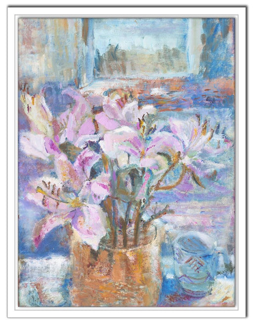 Pink Lilies Canvas Print. Floral canvas print. Canvas Print made from original painting. Canvas prints from original art. Available at Judi Glover Art. Original Painting by Judi Glover. Used for Wall Art.