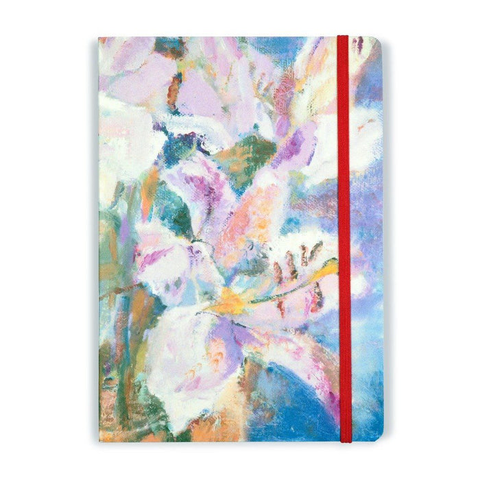 Pretty notebook with a cover from a painting of pink lilies. The floral notebook is A5 with 120 pages of lined paper and is made in the UK