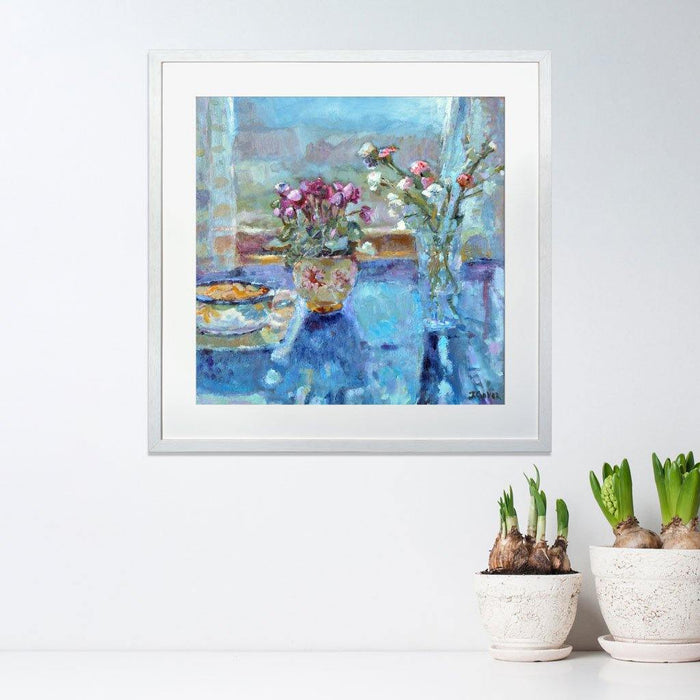 Wall art prints from a painting of a quiet morning with light shining through a window onto flowers. The still life print is available as an art print at Judi Glover Art