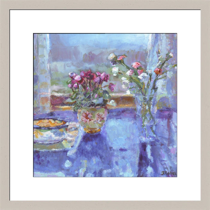 Fine Art Print. Giclee Print made from original painting of a still life painting with flowers on a table with a window view called quiet morning. Framed prints from original art. Available at Judi Glover Art. Original Painting by Judi Glover. Used for Wall Art.