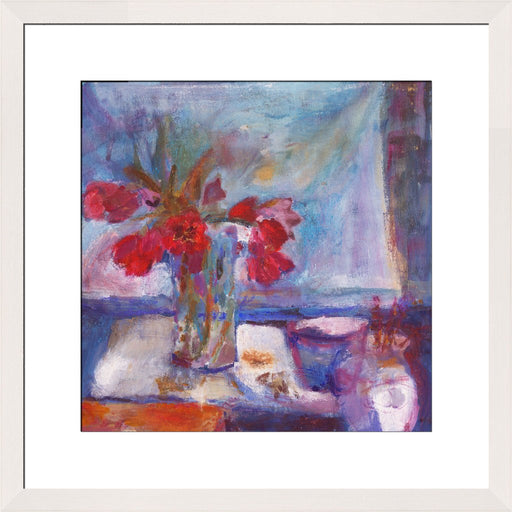 Fine Art Print. Giclee Print made from original painting with tulips on a table. Painting of Red Tulips as a Fine Art Print. Framed prints from original art. Available at Judi Glover Art. Original Painting by Judi Glover. Used for Wall Art.