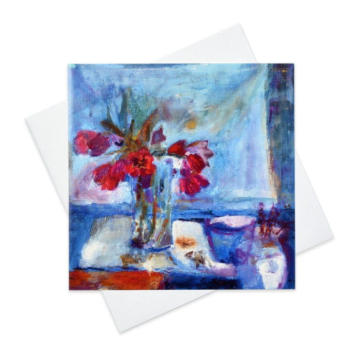 Floral Greeting Card with Red Tulips made from original art in the UK by Judi Glover Art
