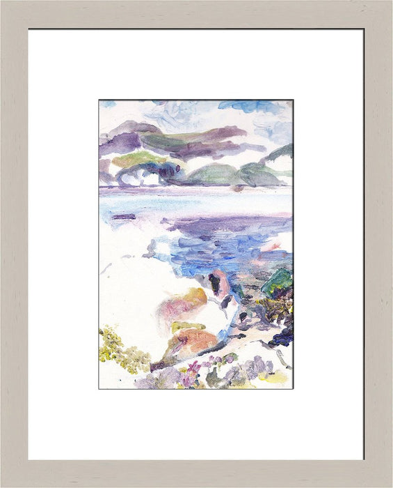 Art Print made from an Original Seascape Painting. A painting of Isle of Iona in the Scottish Hebrides in Scotland with blues, greens and purples and the waves covering the rocks. This is printed into a high quality giclee Print available at Judi Glover Art.