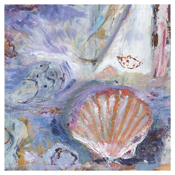 Seashore Fine Art Print. seashell fine art print made from original art. This giclee art print is available as a unframed fine art print. The fine art print is available as a framed art print. Fine Art prints from Original art by UK artist Judi Glover.