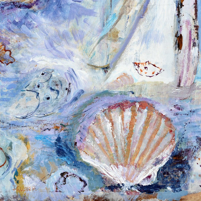 Fine Art Greeting Card called Seashells on the Seashore. A greeting card made from original art and an impressionistic painting of shells. The card is hand printed in the UK on 300 GSM Card and forms part of the seascape collection. Available at Judi Glover Art.